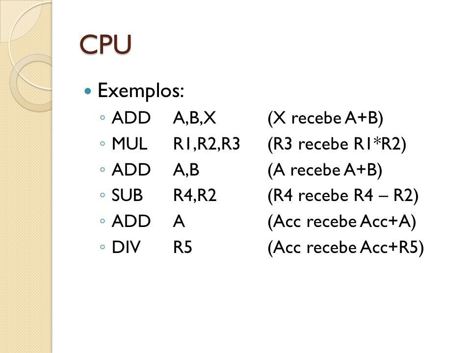 CPU Exemplos: ADD A,B,X (X recebe A+B) MUL R1,R2,R3 (R3 recebe R1*R2)