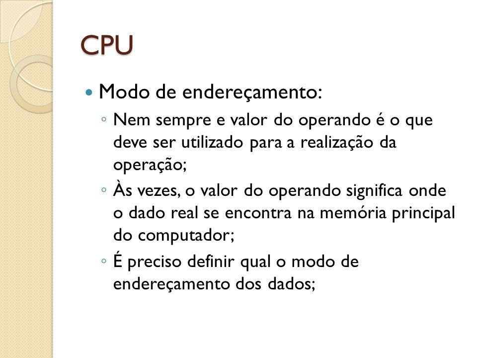 CPU Modo de endereçamento: