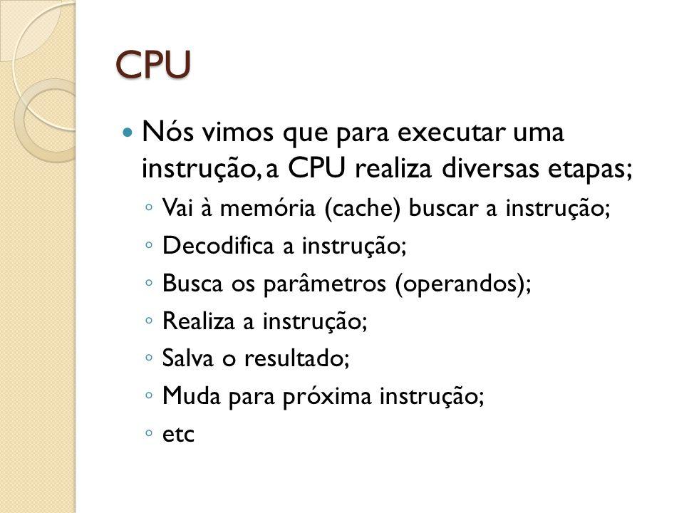 CPU Nós vimos que para executar uma instrução, a CPU realiza diversas etapas; Vai à memória (cache) buscar a instrução;