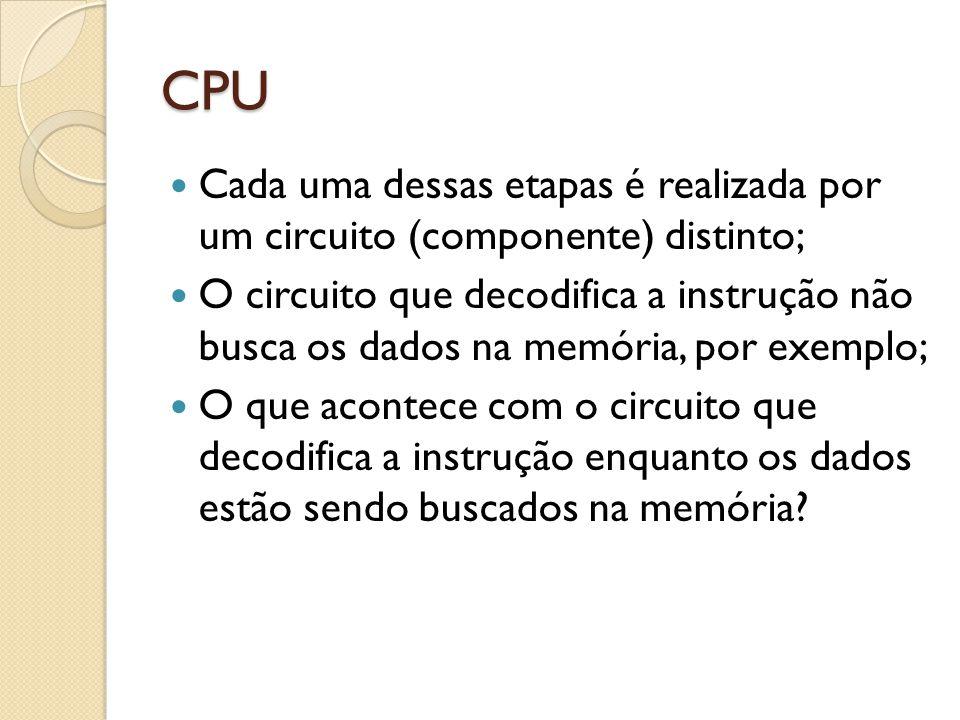 CPU Cada uma dessas etapas é realizada por um circuito (componente) distinto;