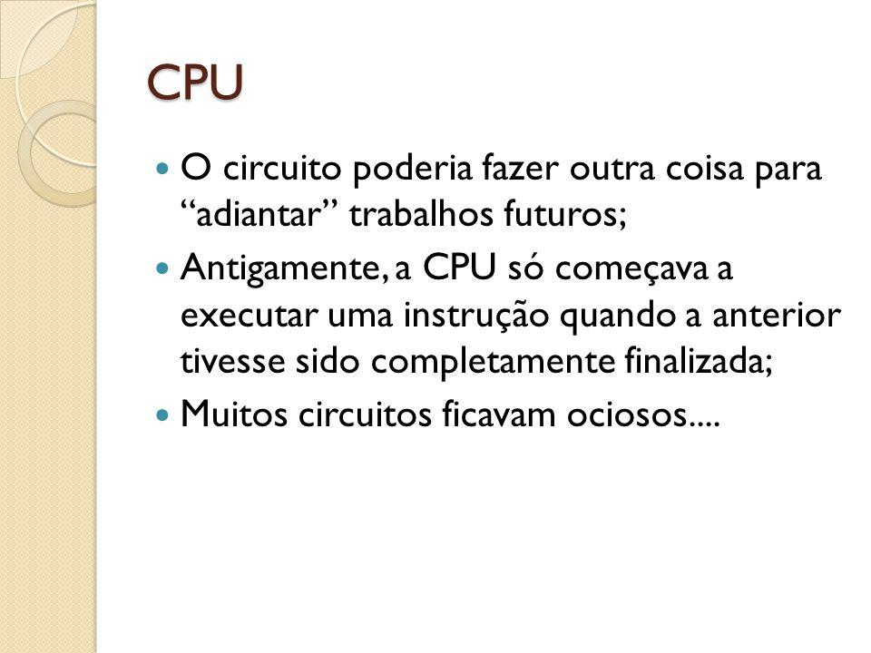CPU O circuito poderia fazer outra coisa para adiantar trabalhos futuros;