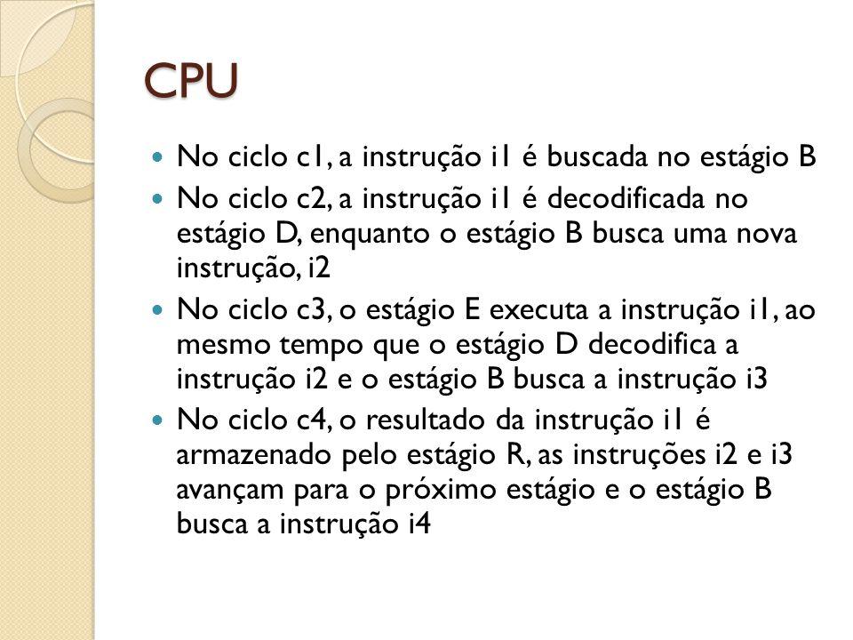 CPU No ciclo c1, a instrução i1 é buscada no estágio B