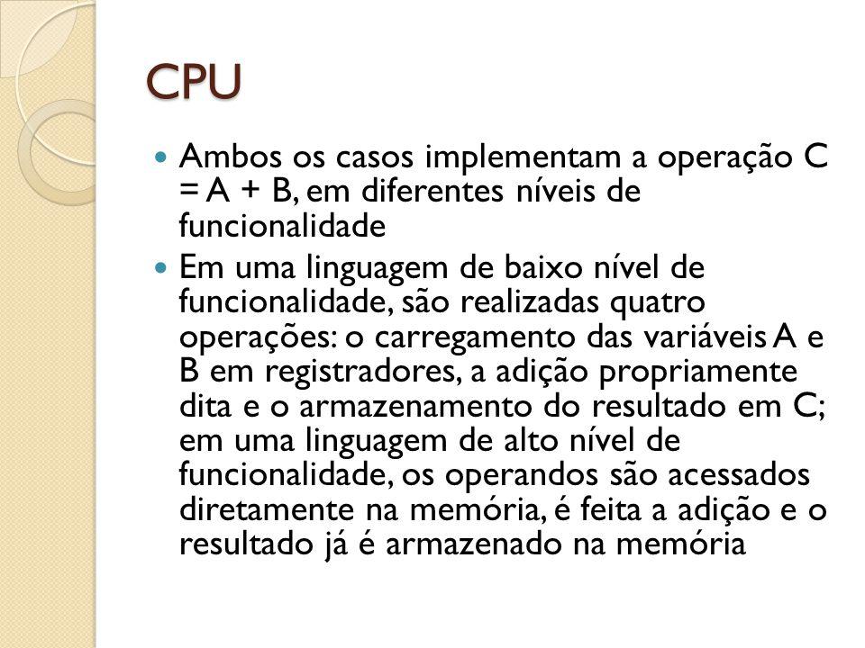 CPU Ambos os casos implementam a operação C = A + B, em diferentes níveis de funcionalidade.