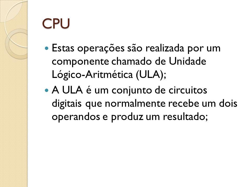 CPU Estas operações são realizada por um componente chamado de Unidade Lógico-Aritmética (ULA);