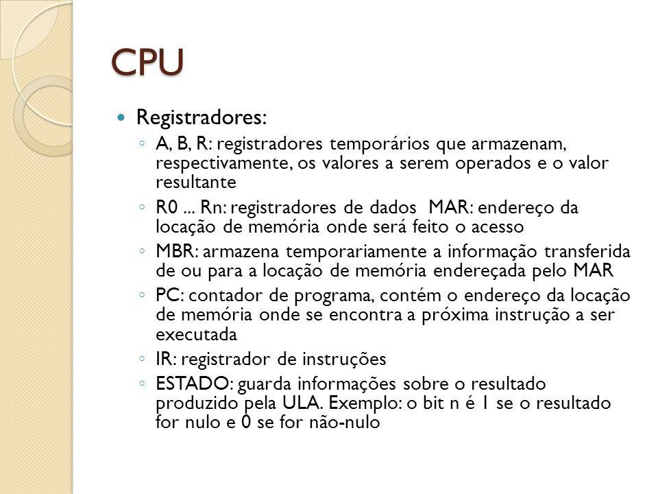 CPU Registradores: A, B, R: registradores temporários que armazenam, respectivamente, os valores a serem operados e o valor resultante.