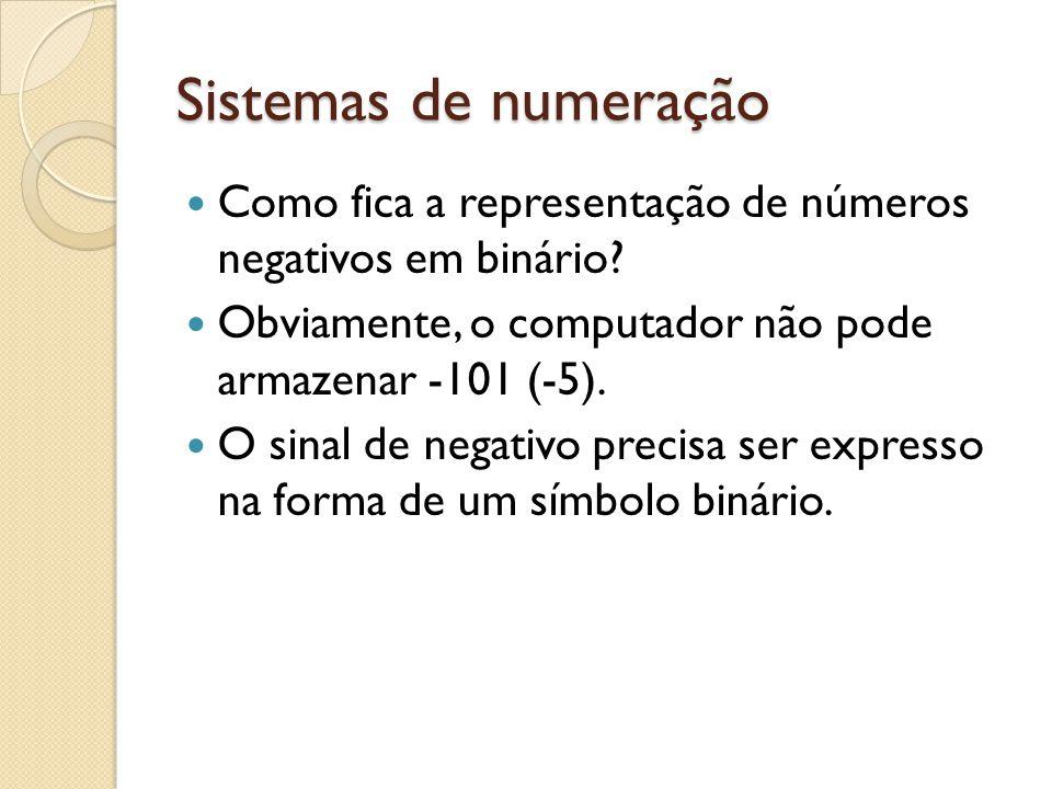 Sistemas de numeração Como fica a representação de números negativos em binário Obviamente, o computador não pode armazenar -101 (-5).