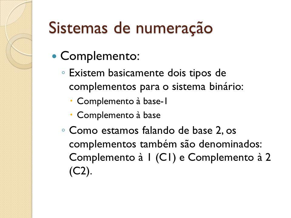 Sistemas de numeração Complemento: