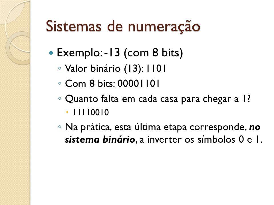 Sistemas de numeração Exemplo: -13 (com 8 bits)