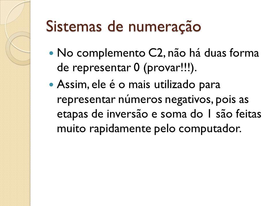 Sistemas de numeração No complemento C2, não há duas forma de representar 0 (provar!!!).