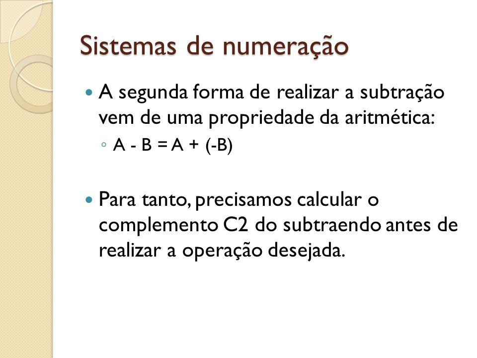 Sistemas de numeração A segunda forma de realizar a subtração vem de uma propriedade da aritmética: