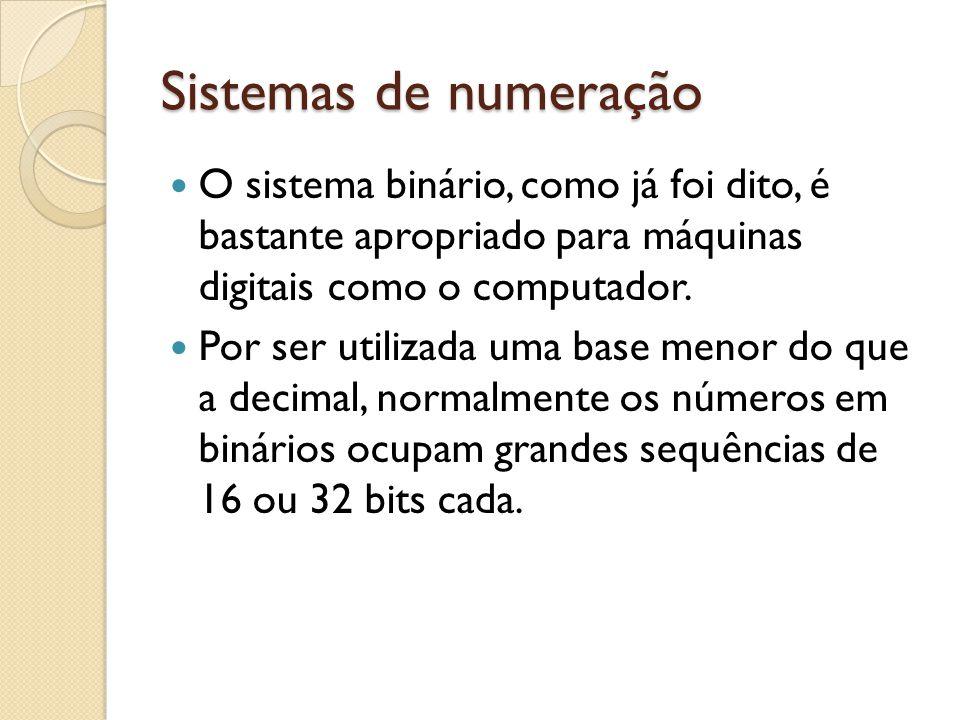 Sistemas de numeração O sistema binário, como já foi dito, é bastante apropriado para máquinas digitais como o computador.