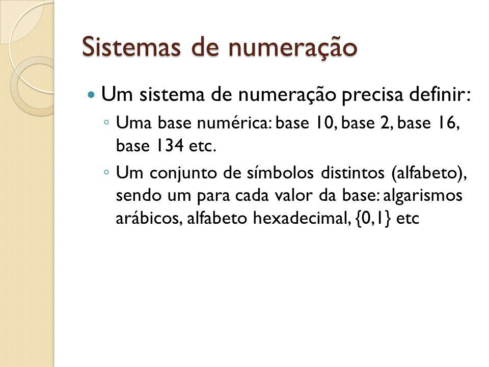 Sistemas de numeração Um sistema de numeração precisa definir: