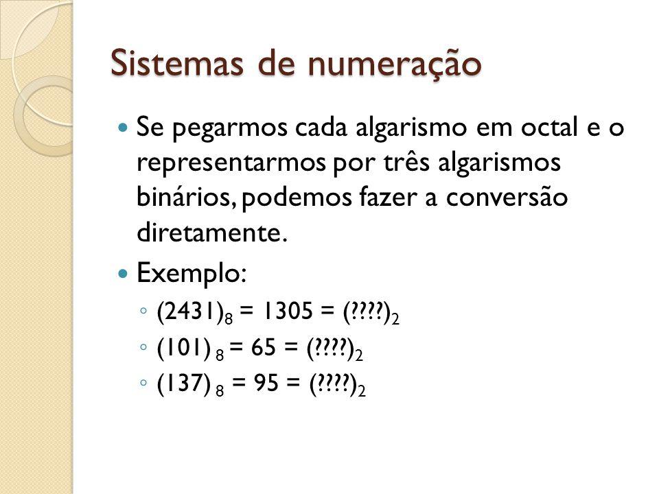 Sistemas de numeração Se pegarmos cada algarismo em octal e o representarmos por três algarismos binários, podemos fazer a conversão diretamente.