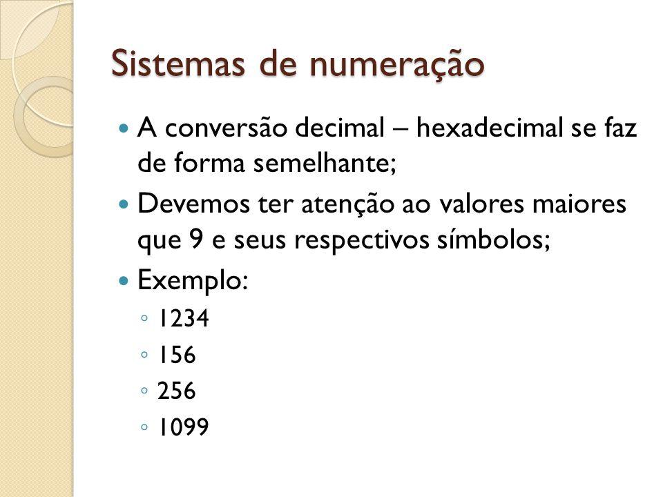 Sistemas de numeração A conversão decimal – hexadecimal se faz de forma semelhante;