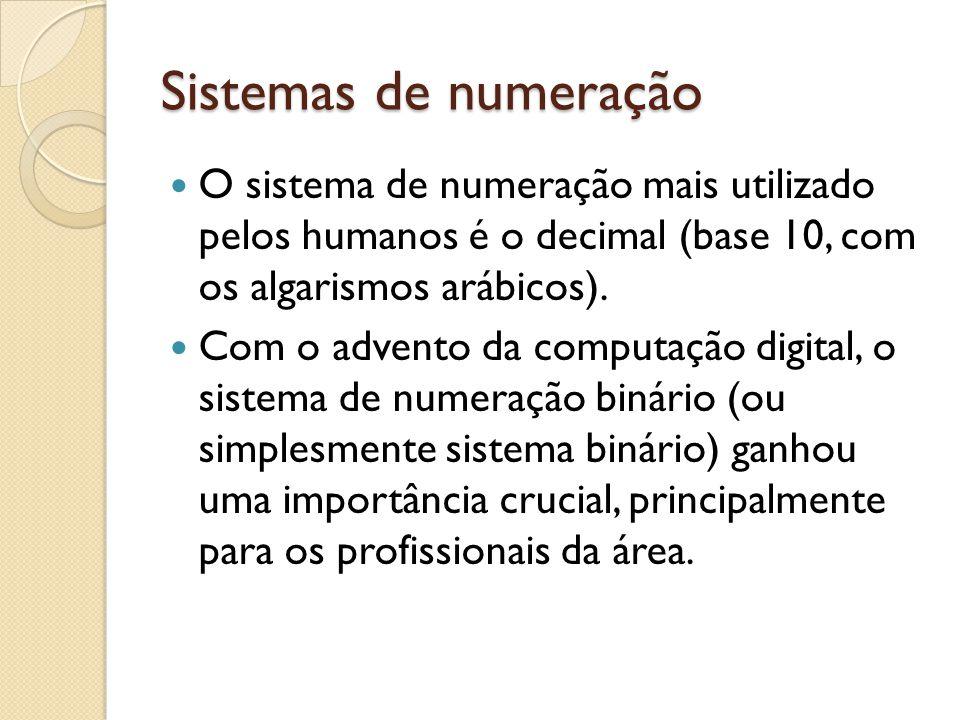 Sistemas de numeração O sistema de numeração mais utilizado pelos humanos é o decimal (base 10, com os algarismos arábicos).