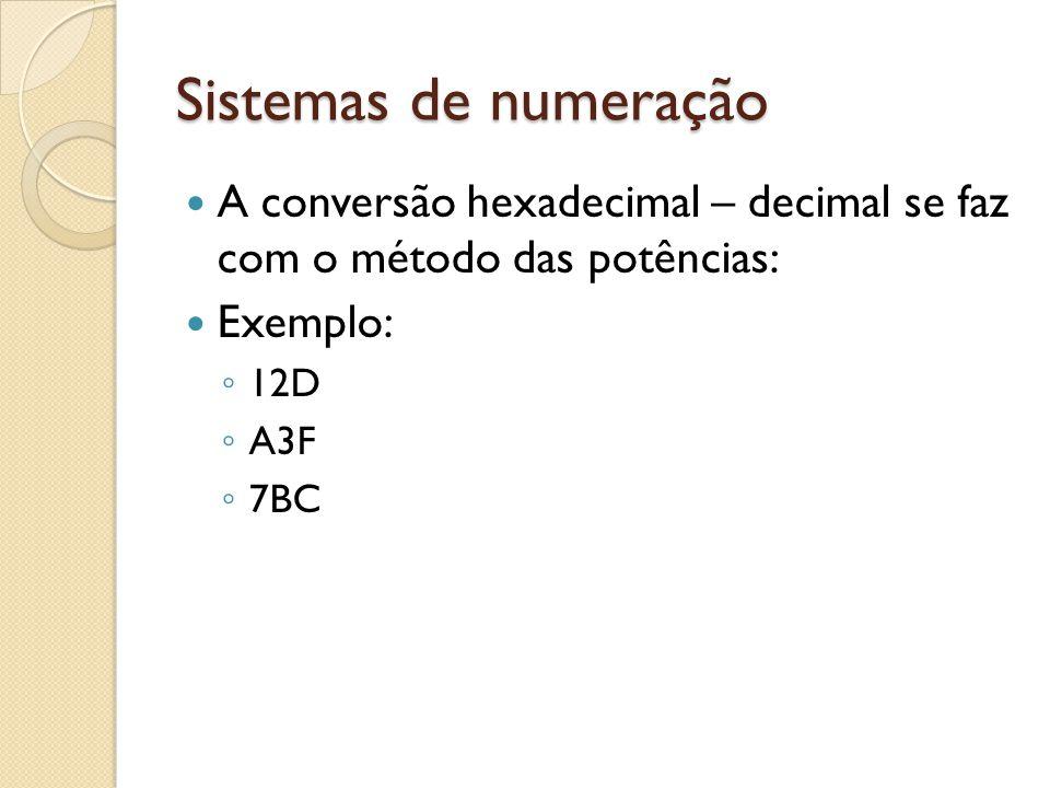 Sistemas de numeração A conversão hexadecimal – decimal se faz com o método das potências: Exemplo:
