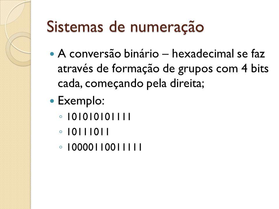 Sistemas de numeração A conversão binário – hexadecimal se faz através de formação de grupos com 4 bits cada, começando pela direita;
