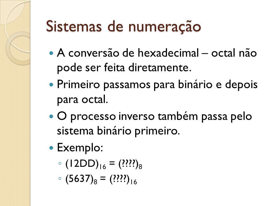 Sistemas de numeração A conversão de hexadecimal – octal não pode ser feita diretamente. Primeiro passamos para binário e depois para octal.