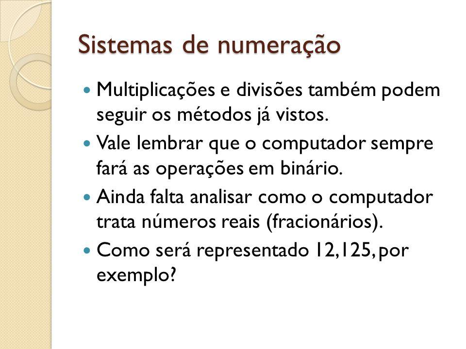 Sistemas de numeração Multiplicações e divisões também podem seguir os métodos já vistos.