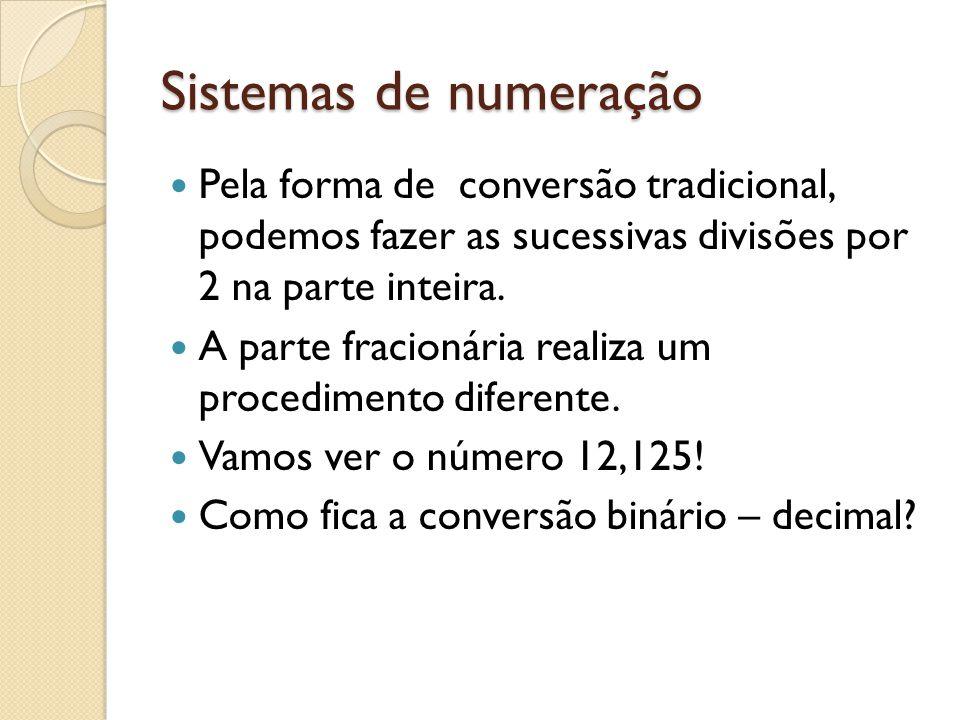 Sistemas de numeração Pela forma de conversão tradicional, podemos fazer as sucessivas divisões por 2 na parte inteira.