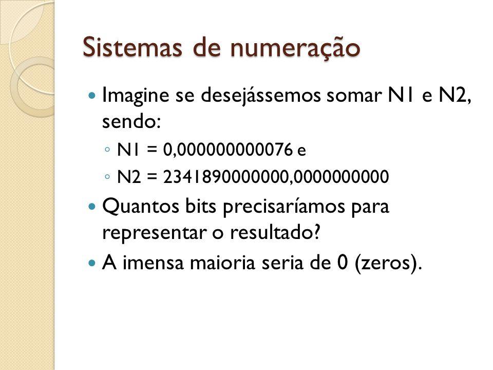 Sistemas de numeração Imagine se desejássemos somar N1 e N2, sendo: