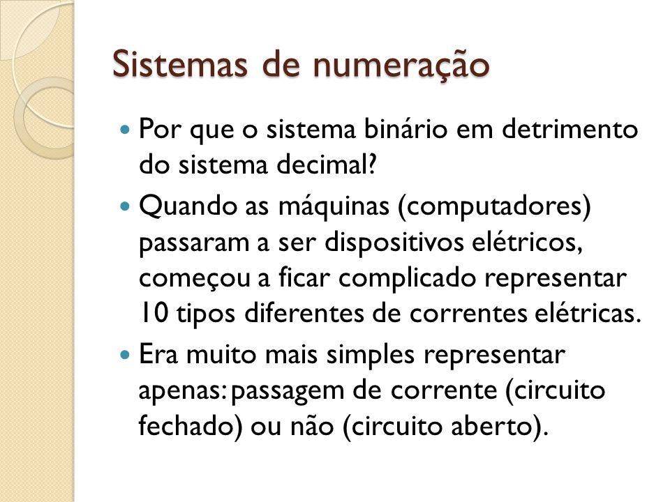 Sistemas de numeração Por que o sistema binário em detrimento do sistema decimal
