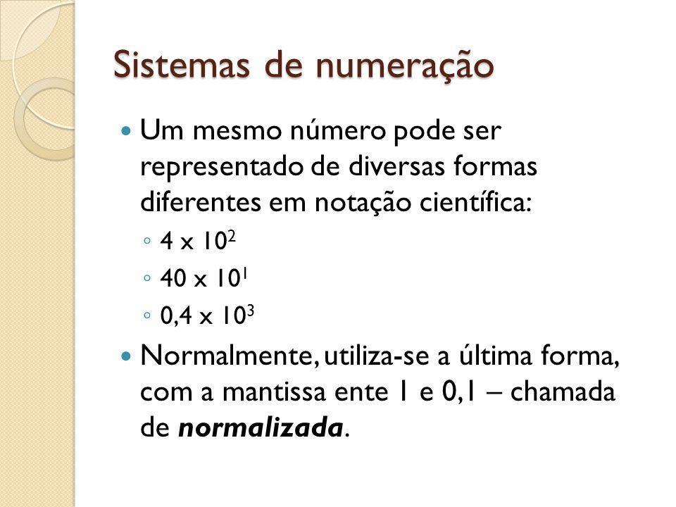 Sistemas de numeração Um mesmo número pode ser representado de diversas formas diferentes em notação científica: