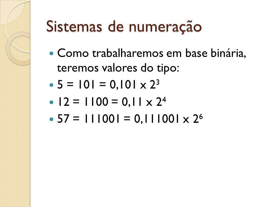 Sistemas de numeração Como trabalharemos em base binária, teremos valores do tipo: 5 = 101 = 0,101 x 23.
