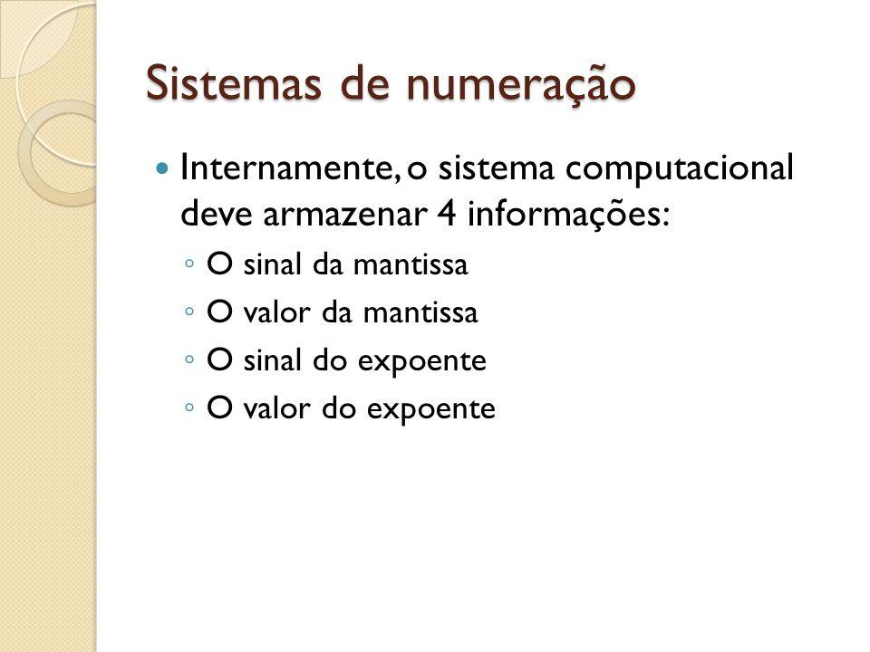 Sistemas de numeração Internamente, o sistema computacional deve armazenar 4 informações: O sinal da mantissa.