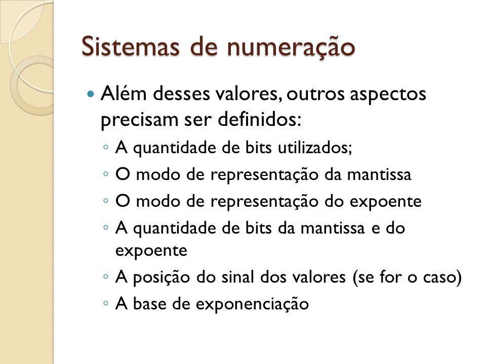 Sistemas de numeração Além desses valores, outros aspectos precisam ser definidos: A quantidade de bits utilizados;