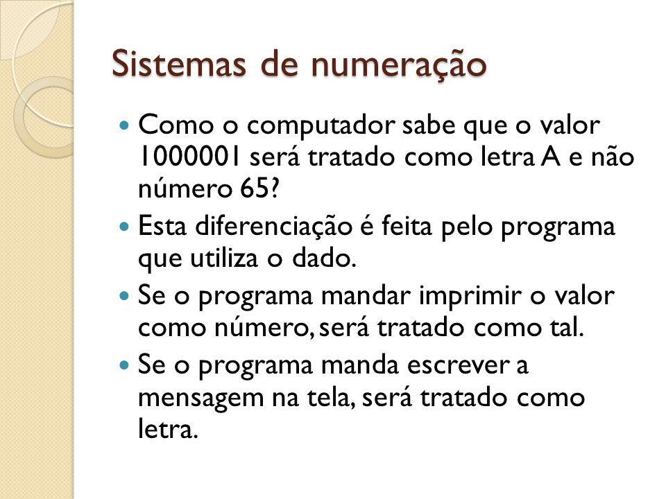Sistemas de numeração Como o computador sabe que o valor 1000001 será tratado como letra A e não número 65