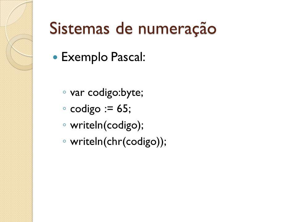Sistemas de numeração Exemplo Pascal: var codigo:byte; codigo := 65;