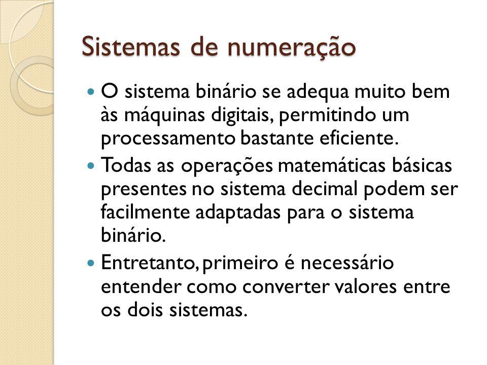 Sistemas de numeração O sistema binário se adequa muito bem às máquinas digitais, permitindo um processamento bastante eficiente.