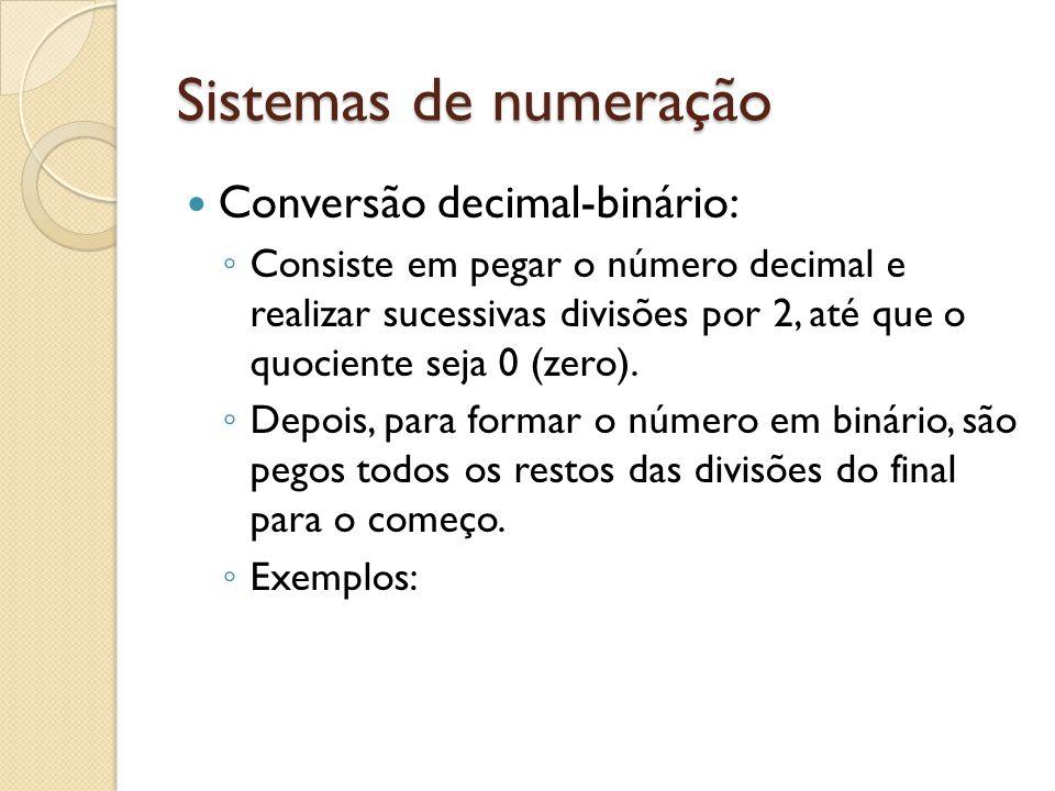 Sistemas de numeração Conversão decimal-binário: