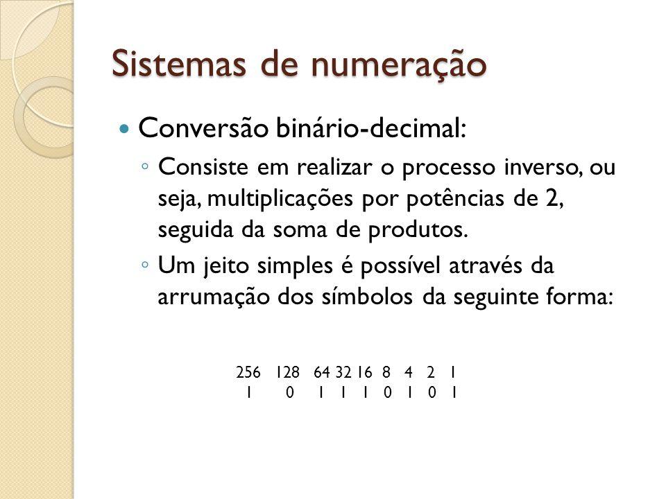 Sistemas de numeração Conversão binário-decimal: