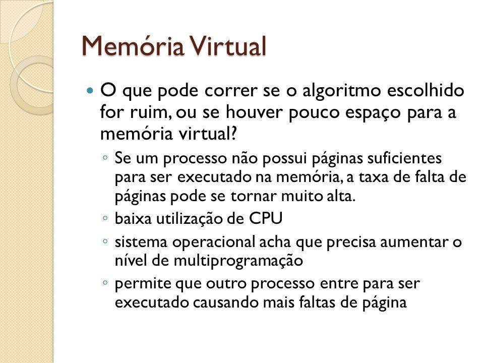 Memória Virtual O que pode correr se o algoritmo escolhido for ruim, ou se houver pouco espaço para a memória virtual