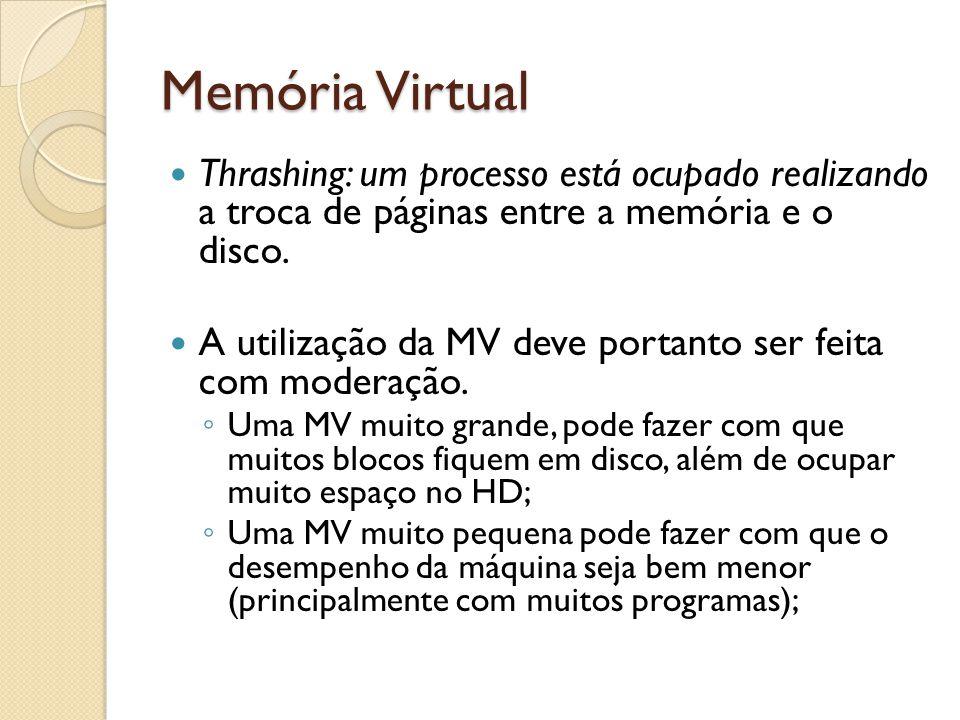 Memória Virtual Thrashing: um processo está ocupado realizando a troca de páginas entre a memória e o disco.