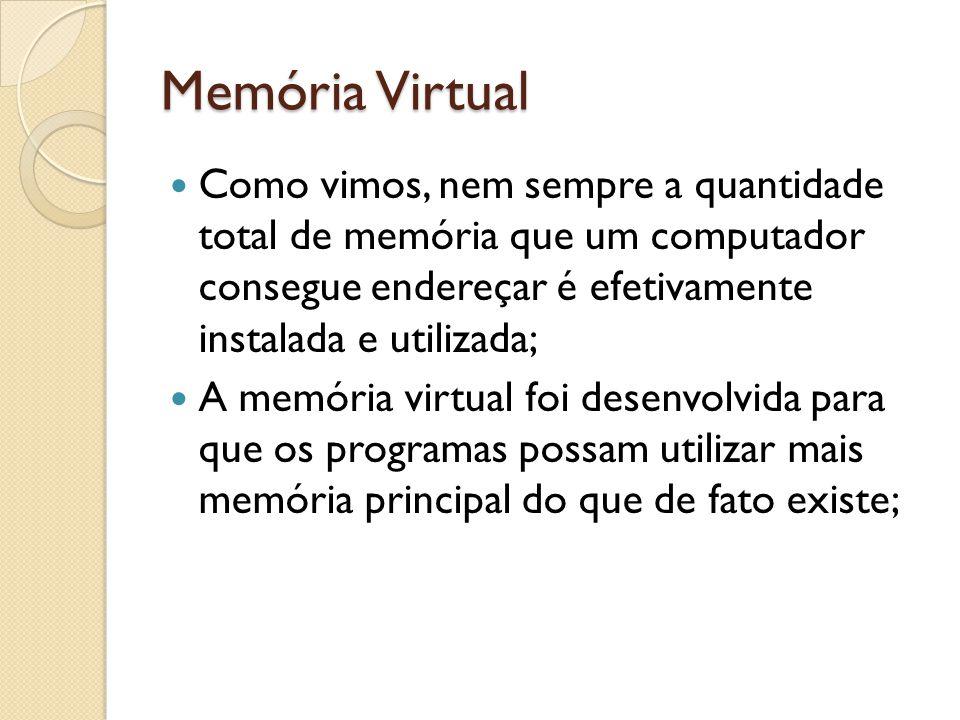Memória Virtual Como vimos, nem sempre a quantidade total de memória que um computador consegue endereçar é efetivamente instalada e utilizada;