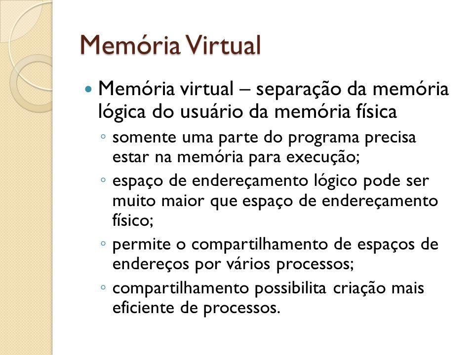 Memória Virtual Memória virtual – separação da memória lógica do usuário da memória física.