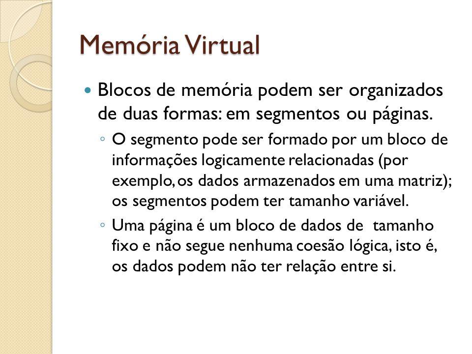 Memória Virtual Blocos de memória podem ser organizados de duas formas: em segmentos ou páginas.