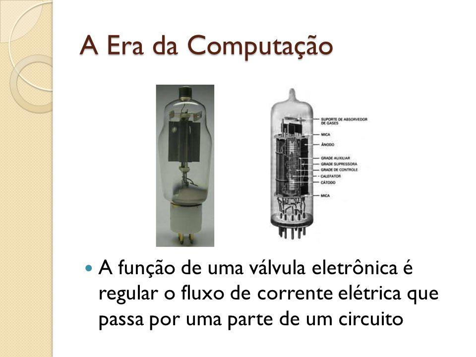 A Era da Computação A função de uma válvula eletrônica é regular o fluxo de corrente elétrica que passa por uma parte de um circuito.