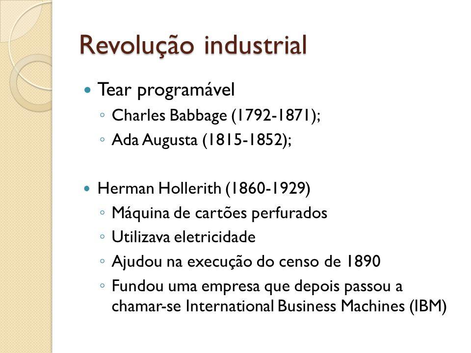 Revolução industrial Tear programável Charles Babbage (1792-1871);