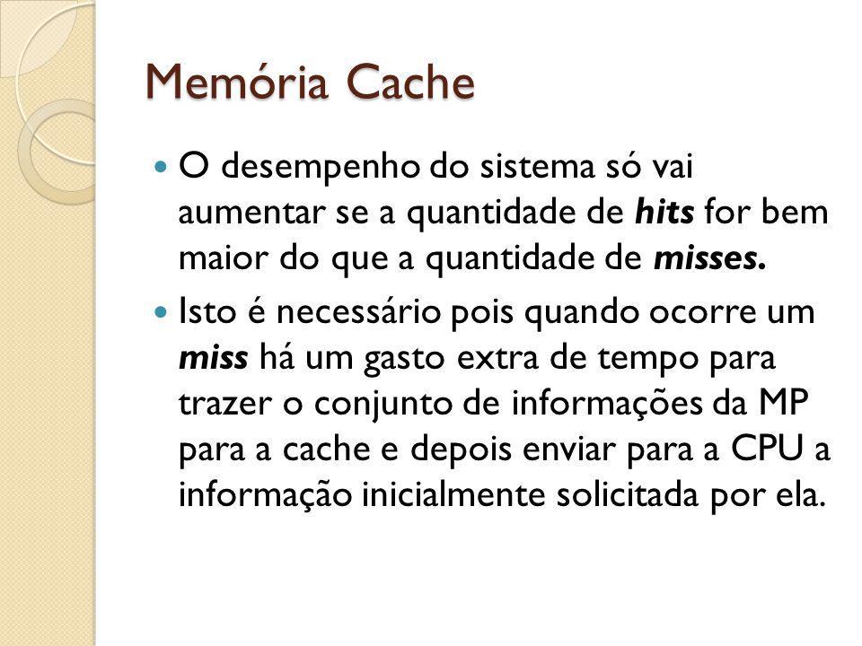 Memória Cache O desempenho do sistema só vai aumentar se a quantidade de hits for bem maior do que a quantidade de misses.