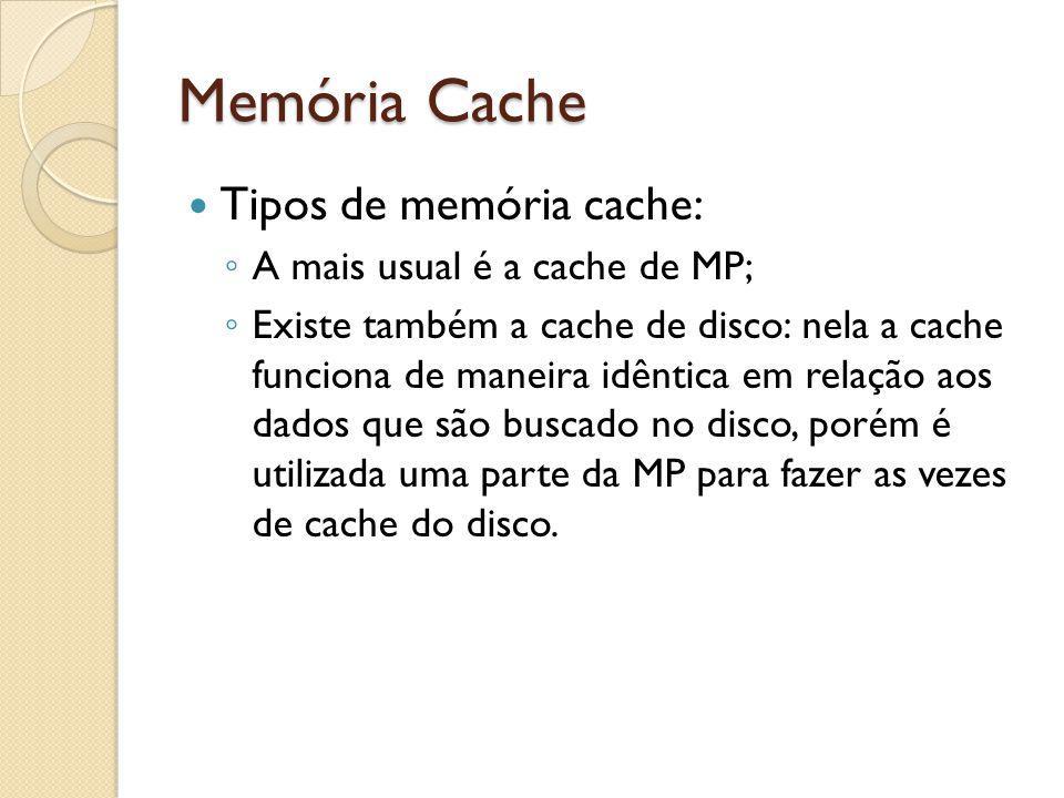 Memória Cache Tipos de memória cache: A mais usual é a cache de MP;