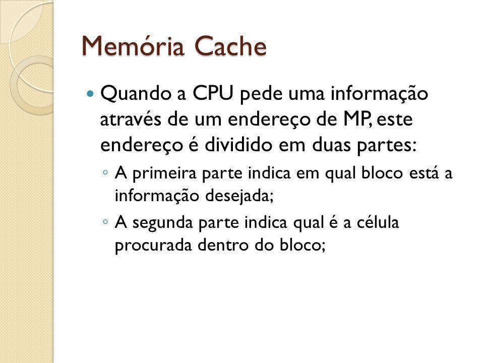 Memória Cache Quando a CPU pede uma informação através de um endereço de MP, este endereço é dividido em duas partes: