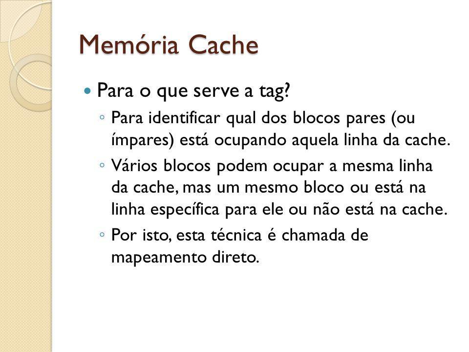 Memória Cache Para o que serve a tag