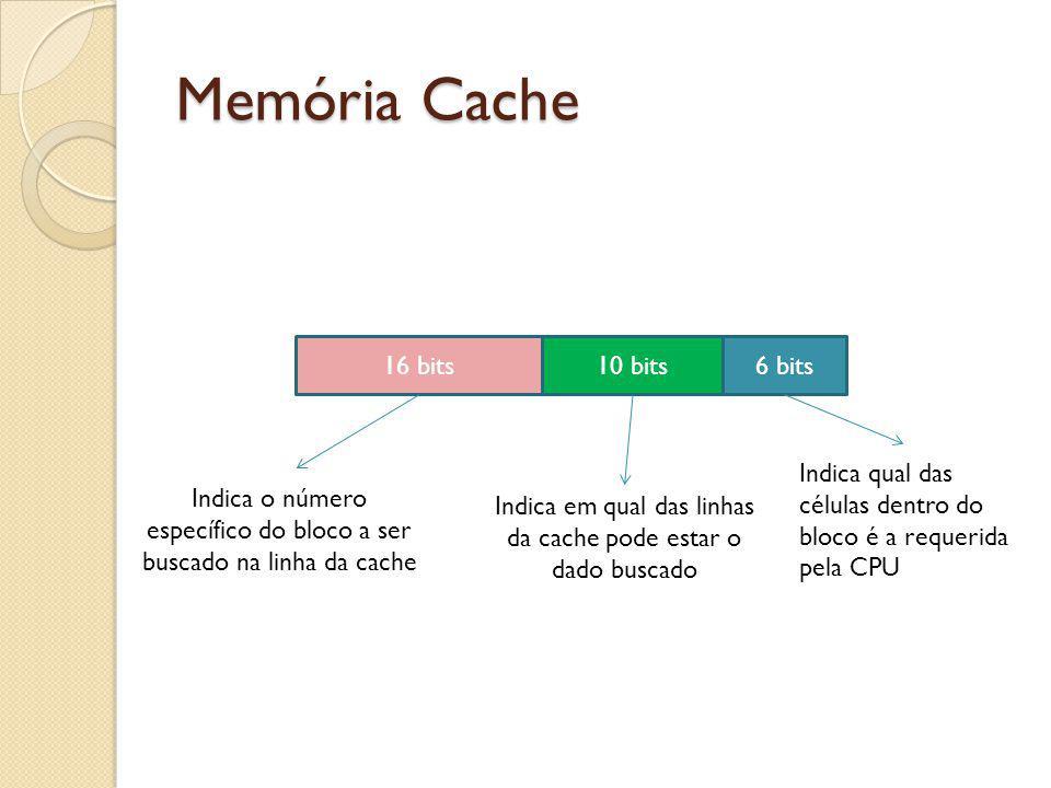 Memória Cache 16 bits 10 bits 6 bits