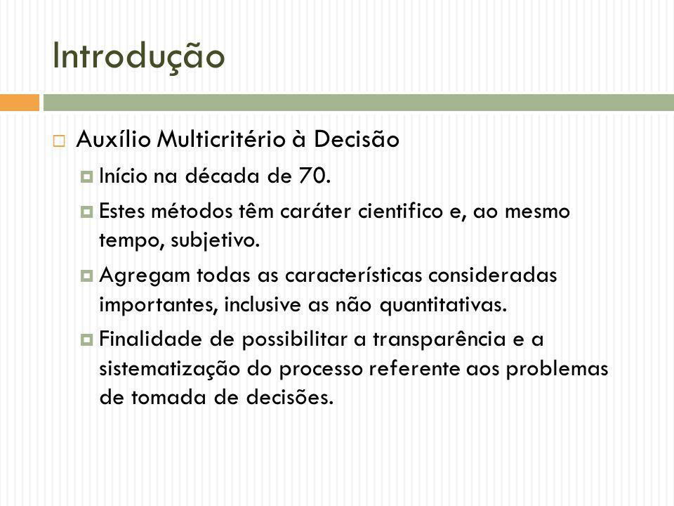 Introdução Auxílio Multicritério à Decisão Início na década de 70.