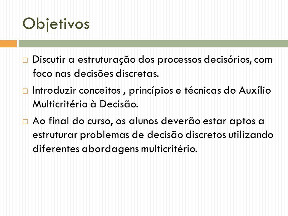Objetivos Discutir a estruturação dos processos decisórios, com foco nas decisões discretas.