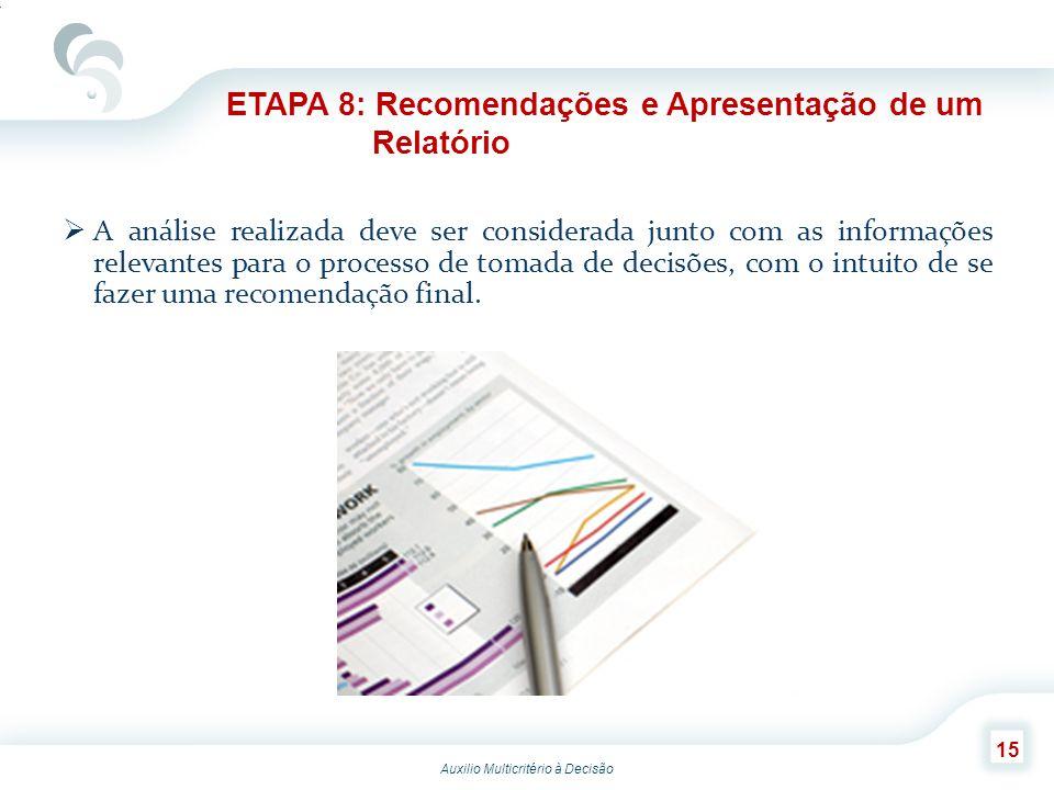 ETAPA 8: Recomendações e Apresentação de um Relatório
